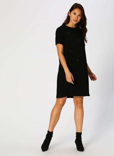 Fabrika Kısa Kollu Düz Elbise Siyah